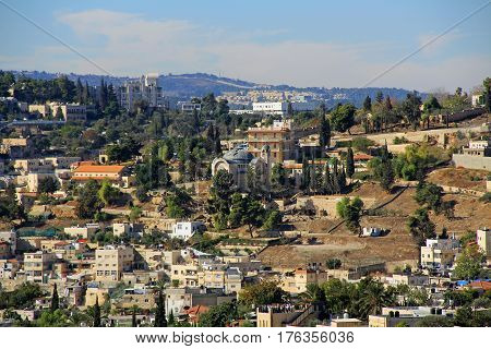 Panoramic view of St. Peter in Gallicantu, a Roman Catholic Church in the City of Jerusalem, Israel.
