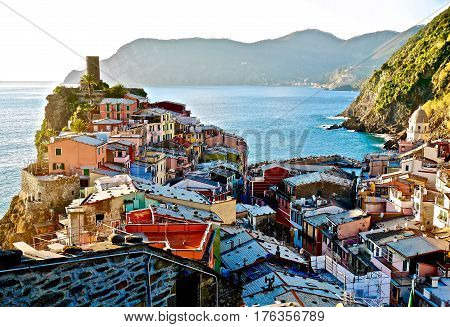Colorful roofs in a little seaside vilage in Northen Italy. Monterosso Al Mare. Cinque Terre National Park. Italy.