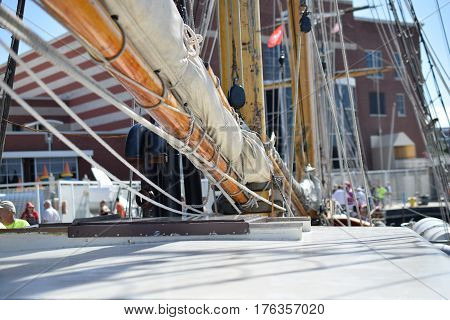 Tall Ships, Erie, PA, mast, sails and boom, old glory w/ 13 stars, antique fleet, Historic War of 1812