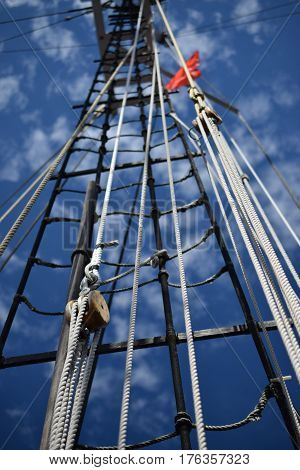 Tall Ships, Erie, PA mooring ropes and  ladder, antique fleet Historic War of 1812