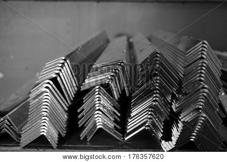 stack of angle stainless steel in the factory