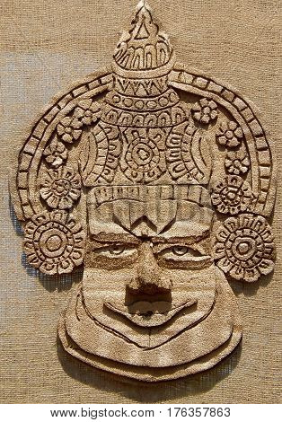 HYDERABAD,INDIA-FEBRUARY 26:Art work made out of jute and other natural material show face of kerala traditional kathakali dancer on February 26,2017 in Hyderabad,India.