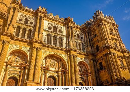 Cathedral Square in Malaga andalucia, Southern Spain