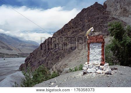 Buddhist ritual constructions Stupa in Upper Mustang, Nepal.