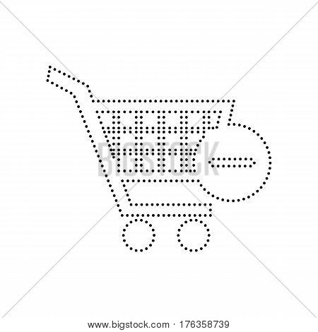 Vector Shopping Cart with Remove sign. Vector. Black dotted icon on white background. Isolated.