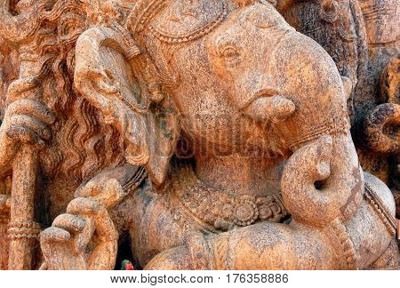 HYDERABAD,INDIA-MARCH 3:Closeup of Stone carving of Indian Hindu God Ganesha, in Display,in Shilparamam on March 3,2017 in Hyderabad,India