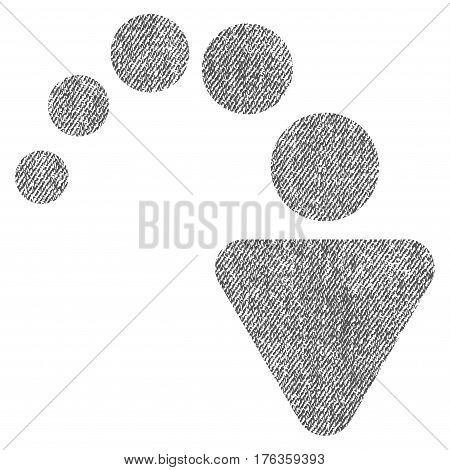 Redo vector textured icon for overlay watermark stamps. Fabric gray vectorized texture. Symbol with scratched design. Rubber seal stamp with fiber textile structure.