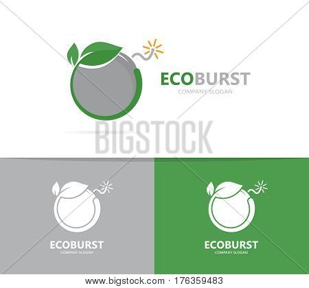 Vector of a bomb and leaf logo combination. Detonate and eco symbol or icon. Unique weapon and natural, organic logotype design template.
