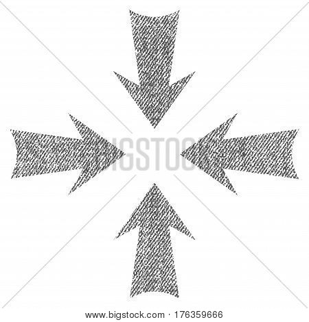 Reduce Arrows vector textured icon for overlay watermark stamps. Fabric gray vectorized texture. Symbol with unclean design. Rubber seal stamp with fiber textile structure.