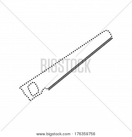 Saw simple sign. Vector. Black dotted icon on white background. Isolated.