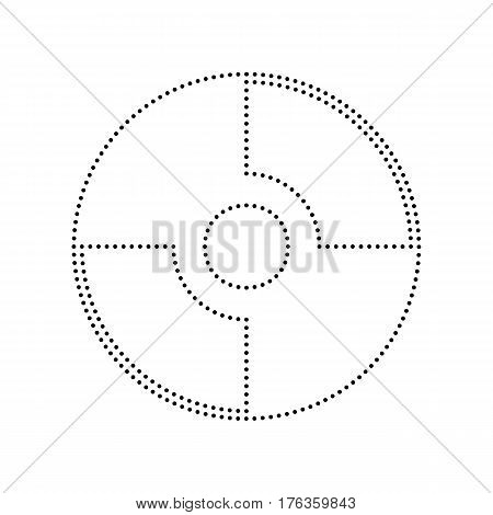 Vector CD or DVD sign. Vector. Black dotted icon on white background. Isolated.