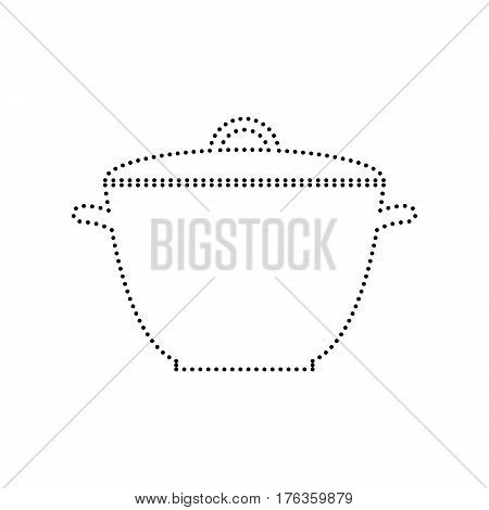 Saucepan simple sign. Vector. Black dotted icon on white background. Isolated.