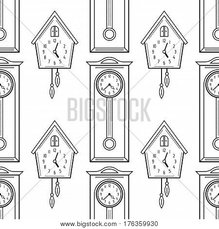 Cuckoo clock and grandfather clock, flat linear objects. Black and white seamless pattern for coloring book
