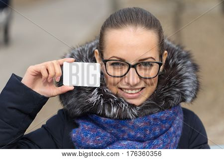 Credit Card In The Hands Of A Beautiful Girl