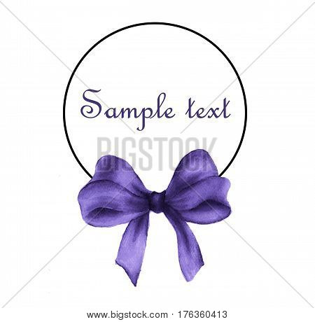 watercolor painting of round frame with purple gift bow drawing and place for text.