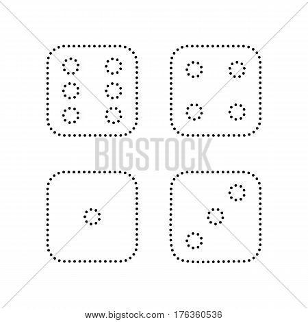 Devils bones, Ivories sign. Vector. Black dotted icon on white background. Isolated.