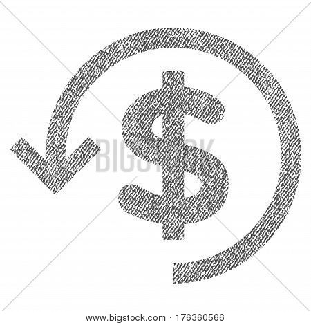 Refund vector textured icon for overlay watermark stamps. Fabric gray vectorized texture. Symbol with unclean design. Rubber seal stamp with fiber textile structure.