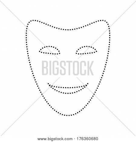 Comedy theatrical masks. Vector. Black dotted icon on white background. Isolated.
