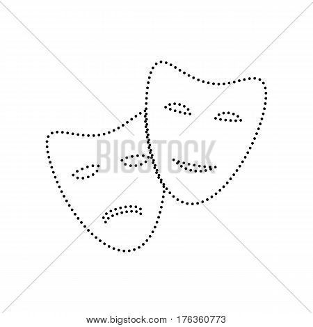 Theater icon with happy and sad masks. Vector. Black dotted icon on white background. Isolated.