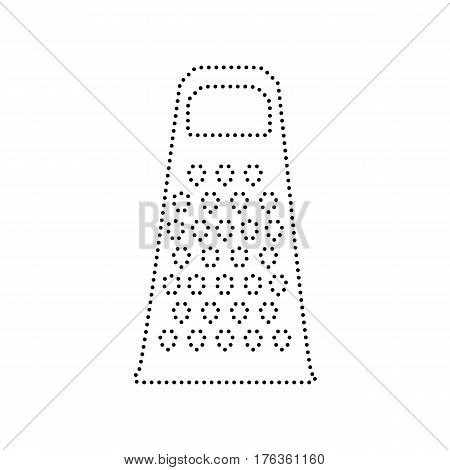 Cheese grater sign. Vector. Black dotted icon on white background. Isolated.