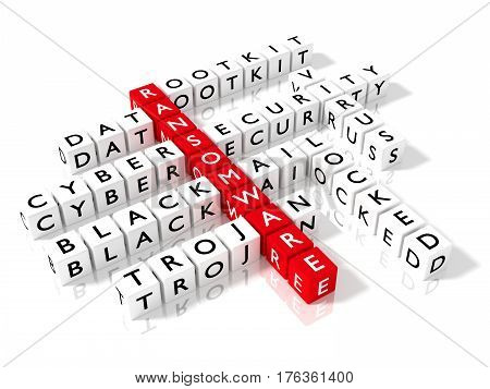 Crossword puzzle showing ransomware keywords as dice on a white board cybersecurity concept 3D illustration