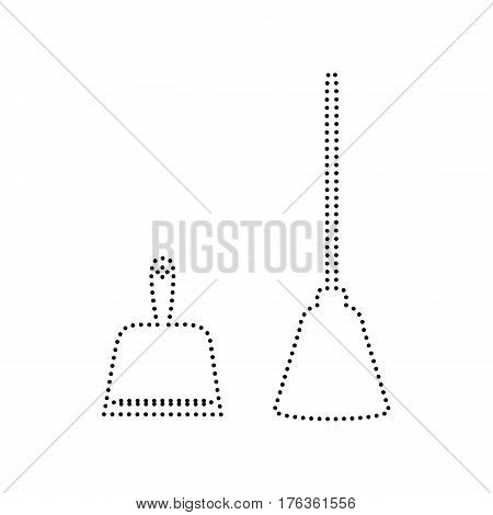 Dustpan vector sign. Scoop for cleaning garbage housework dustpan equipment. Vector. Black dotted icon on white background. Isolated.