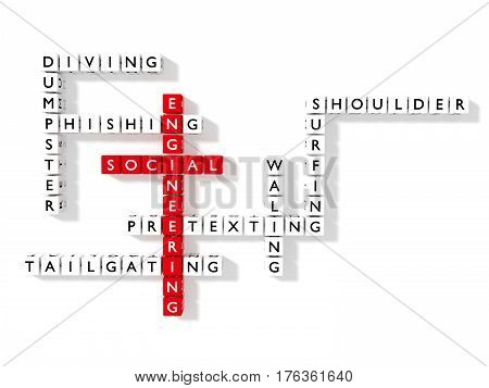 Crossword puzzle showing social engineering keywords as dice on a white board cybersecurity concept flat design 3D illustration