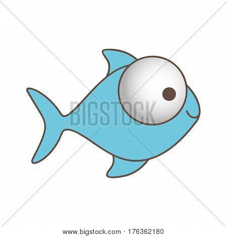 blue fish with big eyes icon, vector illustration design