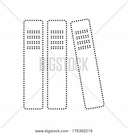 Row of binders, office folders icon. Vector. Black dotted icon on white background. Isolated.