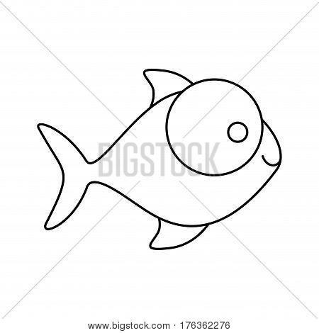 figure fish with big eyes icon, vector illustration design