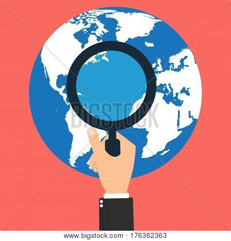 Businessman hand with magnifying glass for seeing world business trends. Vector illustration business finance concept design.