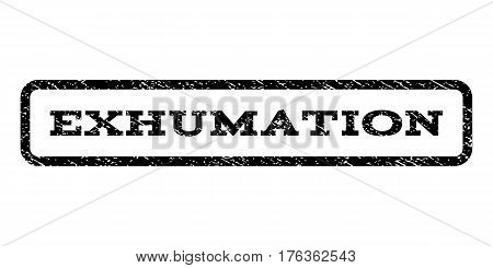 Exhumation watermark stamp. Text tag inside rounded rectangle with grunge design style. Rubber seal stamp with dust texture. Vector black ink imprint on a white background.