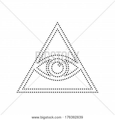 All seeing eye pyramid symbol. Freemason and spiritual. Vector. Black dotted icon on white background. Isolated.