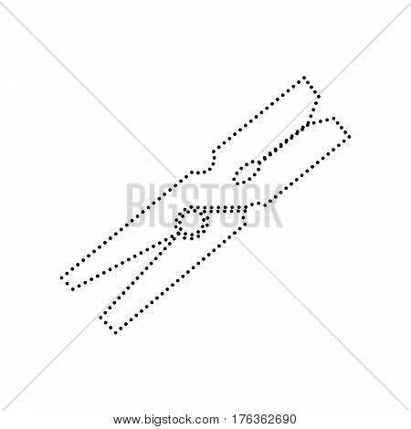 Clothes peg sign. Vector. Black dotted icon on white background. Isolated.