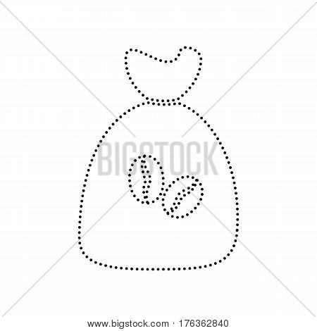 Coffee bag Icon. Coffee bag Vector. Coffee bag Icon Button. Vector. Black dotted icon on white background. Isolated.