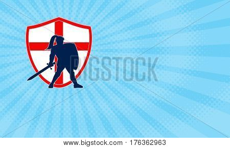 Business card showing Illustration of an English knight silhouette in full armor holding sword with England flag in background done in retro style.