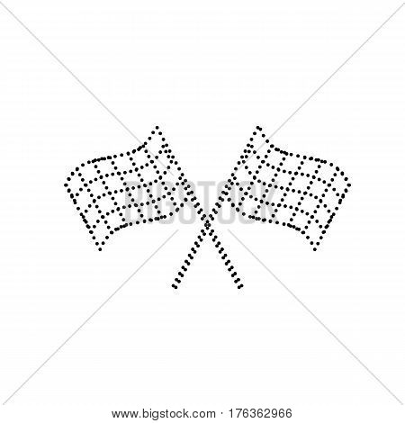 Crossed checkered flags logo waving in the wind conceptual of motor sport. Vector. Black dotted icon on white background. Isolated.
