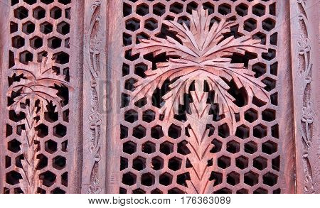 Floral design Carving on wood for use as background