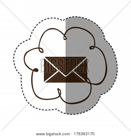 color cloud services e-mail network icon, vector illustration design