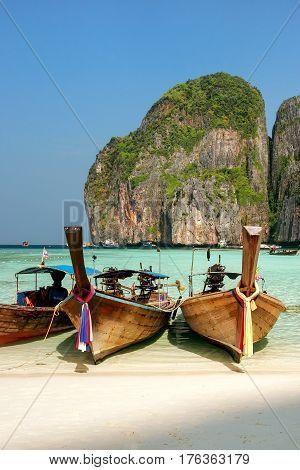 Longtail Boats Anchored At Maya Bay On Phi Phi Leh Island, Krabi Province, Thailand