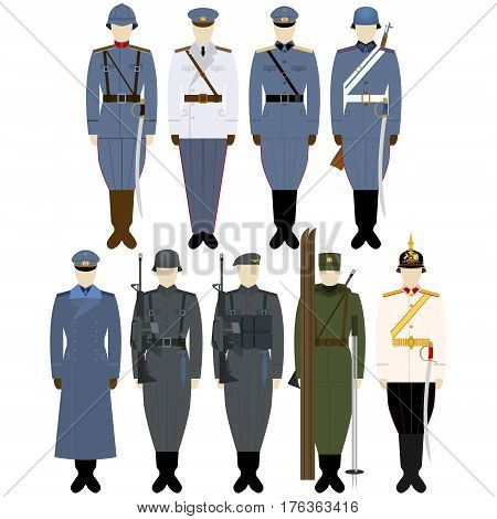Military Uniforms Chilean army. The illustration on a white background.