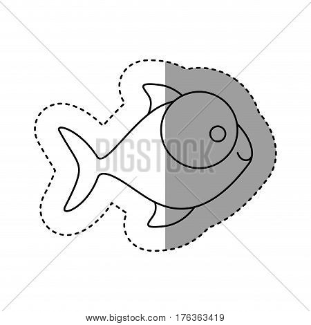 silhouette fish with big eyes icon, vector illustration design