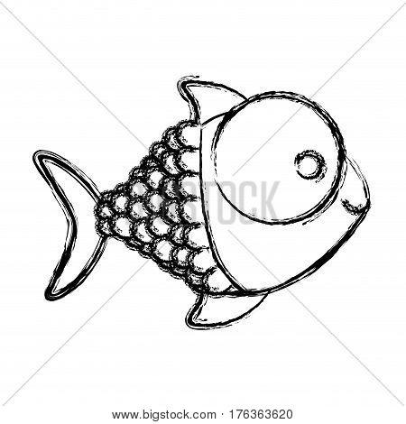 contour happy fish cartoon icon, vector illustration design