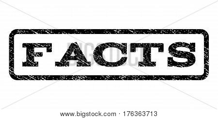 Facts watermark stamp. Text tag inside rounded rectangle frame with grunge design style. Rubber seal stamp with dust texture. Vector black ink imprint on a white background.