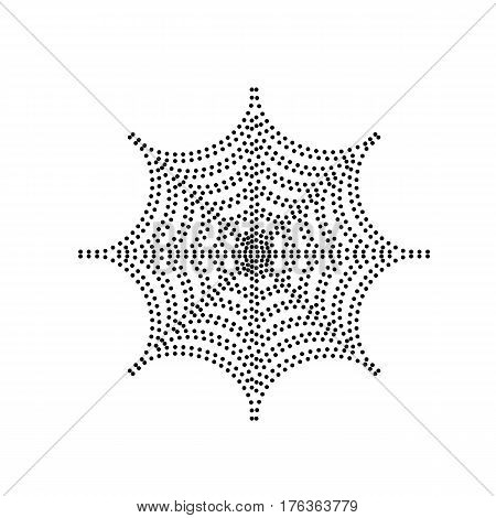 Spider on web illustration. Vector. Black dotted icon on white background. Isolated.