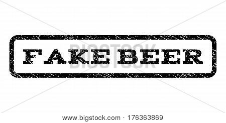 Fake Beer watermark stamp. Text caption inside rounded rectangle frame with grunge design style. Rubber seal stamp with scratched texture. Vector black ink imprint on a white background.