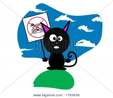 Black Cat Holding An Anti-Dog Sign