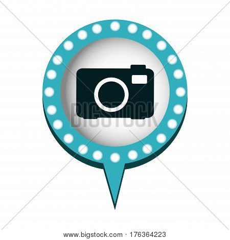 chat bubble with camera inside, vector illustration design