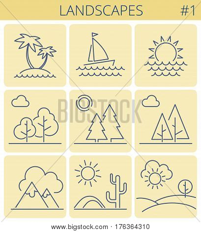 Nature landscape outline icon set: trees forest sun desert sunset boatsea mountains. Vector thin line symbol and sign set. Isolated infographic elements for web presentations social networks.