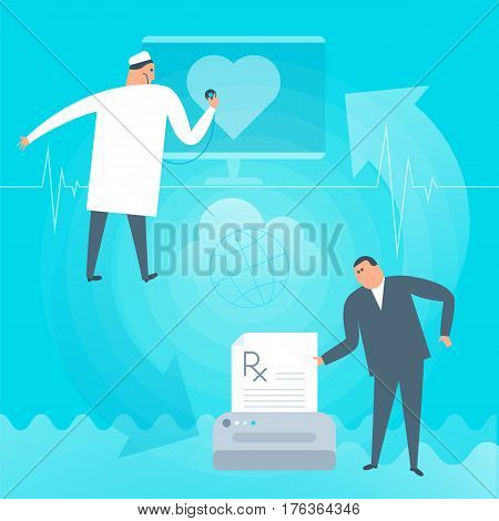 Doctor exams heartbeat remotely by computer. Online tele medicine flat concept illustration. Patient prints rx prescription medic listens heart at monitor. Telemedicine telehealth vector design.